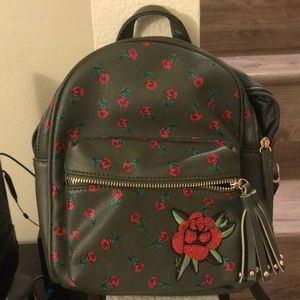 Brand New Mini Olive Green Backpack with Roses